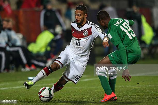 Hany Mukhtar of Germany battles with Zaharaddeen Bello of Nigeria during the FIFA U20 World Cup New Zealand 2015 Round of 16 match between Germany...