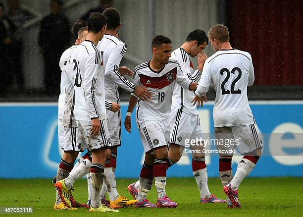 Hany Mukhtar of Germany celebrates as he scores the first goal during the International Under 20 Tournament match between U20 Germany and U20 Turkey...