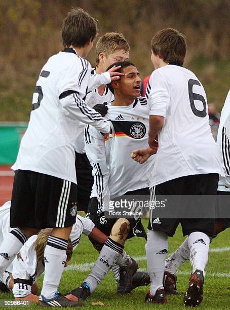 Hany Mukhtar of Germany celebrates the second goal with his team mates during the U15 International Friendly Match between Germany and Estland at the...