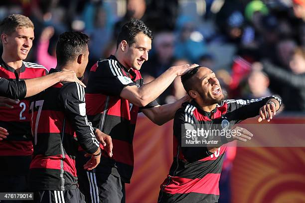 Hany Mukhtar of Germany celebrates with team mates after scoring a goal during the FIFA U20 World Cup New Zealand 2015 Group F match between Honduras...