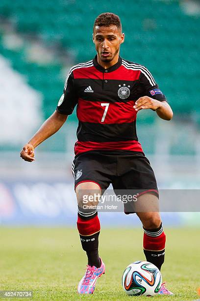 Hany Mukhtar of Germany controls the ball during the UEFA Under19 European Championship match between U19 Germany and U19 Bulgaria at ETOPark on July...