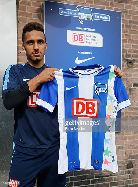 Hany Mukhtar of Hertha BSC presents a special designed jersey on occasion of the world biggest school competition JUGEND TTRAINIERT FUER OLYMPIA...