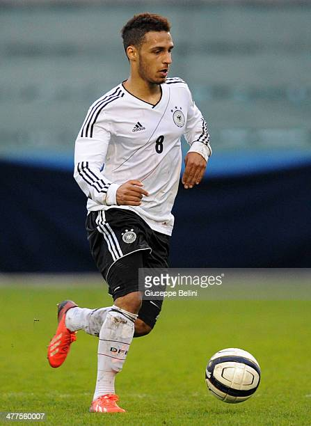 Hany Mukhtar of U19 Germany in action during the U19 international friendly match between U19 Italy and U19 Germany at Stadio Bruno Recchioni on...