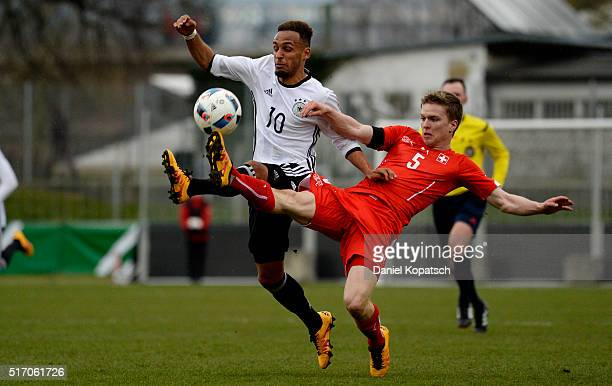 Hany Mukthar of Germany is challenged by Nicolas Stettler of Switzerland during the U20 International Friendly match between Germany and Switzerland...