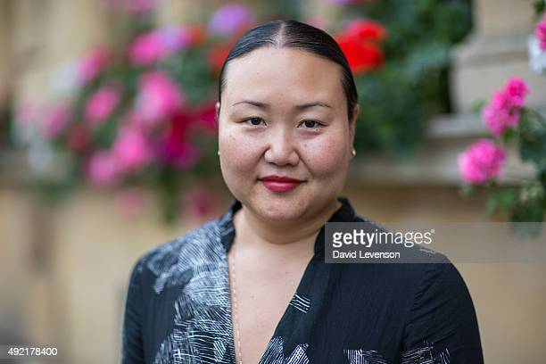 Hanya Yanagihara writer shortlisted for the Man Booker Prize 2015 at the Cheltenham Literature Festival on October 10 2015 in Cheltenham England