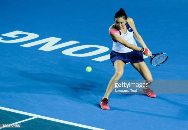 Hao Ching Chan of Taiwan in action during the Prudential Hong Kong Tennis Open 2017 women's double match between Yung Jan Chan and Hao Ching Chan of...