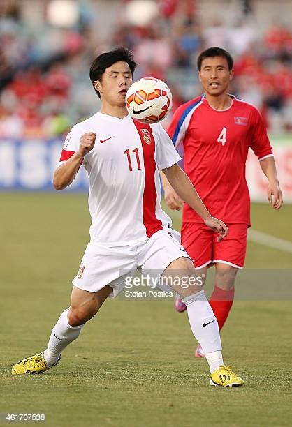 Hao Junmin of China in action during the 2015 Asian Cup match between China PR and DPR Korea at Canberra Stadium on January 18 2015 in Canberra...