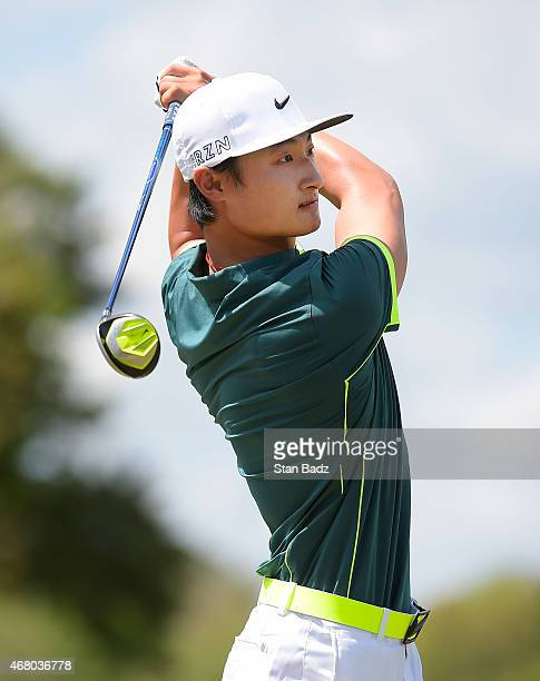 Hao Tong Li of China hits a tee shot on the fourth hole during the final round of the Webcom Tour Chitimacha Louisiana Open presented by NACHER at Le...