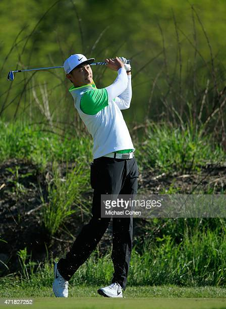 Hao Tong Li of China hits his tee shot on the seventh hole during the second round of the United Leasing Championship held at Victoria National Golf...