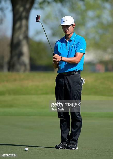 Hao Tong Li of China lines his putt on the sixth hole during the third round of the Webcom Tour Chitimacha Louisiana Open presented by NACHER at Le...