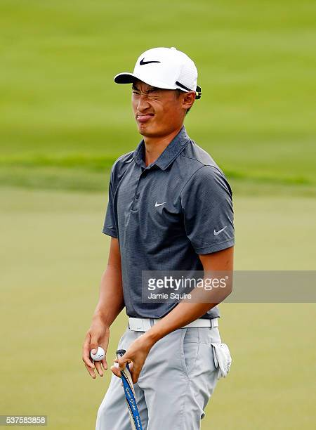 Hao Tong Li of China reacts as he walks up the fairway on the 10th hole uring the first round of the Corales Puntacana Resort And Club Championship...