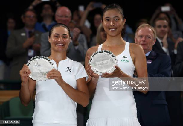 HaoChing Chan and Monica Niculescu following defeat in the Ladies Doubles Final against Ekaterina Makarova and Elena Vesnina on day twelve of the...