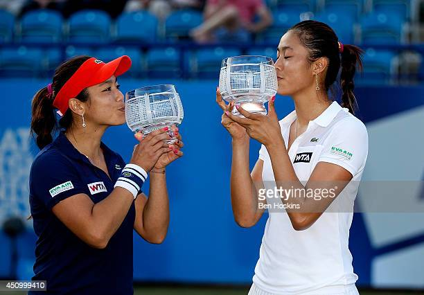 HaoChing Chan and YungJan Chan of Chinese Taipei celebrate after winning the Women's Doubles Final at the Aegon International at Devonshire Park on...