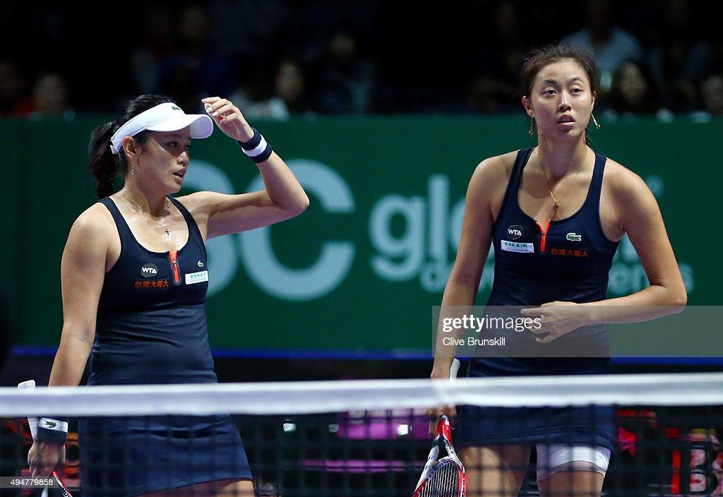 HaoChing Chan and YungJan Chan of Chinese Taipei react during their doubles round robin match againt Carla Suarez Navarro and Garbine Muguruza of...