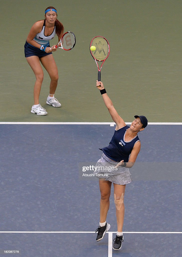 Hao-Ching Chan of Chinese Taipei and <a gi-track='captionPersonalityLinkClicked' href=/galleries/search?phrase=Liezel+Huber&family=editorial&specificpeople=204371 ng-click='$event.stopPropagation()'>Liezel Huber</a> of the United States in action during their women's doubles final match against Cara Black of Zimbabwe and Sania Mirza of India during day seven of the Toray Pan Pacific Open at Ariake Colosseum on September 28, 2013 in Tokyo, Japan.