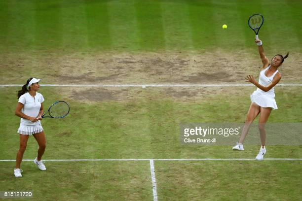 HaoChing Chan of Chinese Taipei and Monica Niculescu of Romania in action in the Ladies Doubles Final against Ekaterina Makarova and Elena Vesnina of...