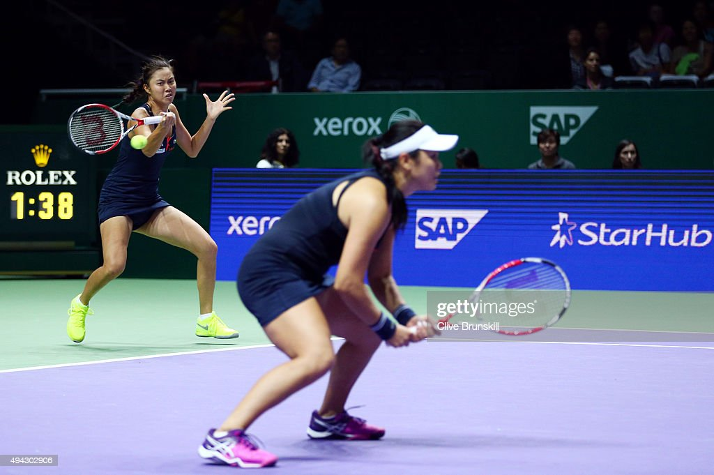 HaoChing Chan of Chinese Taipei and YungJan Chan of Chinese Taipei in action against Caroline Garcia of France and Katarina Srebotnik of Slovenia in...