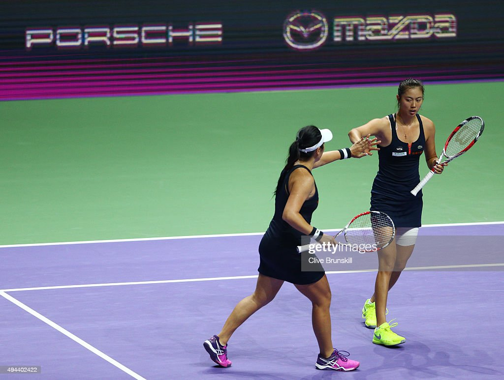 HaoChing Chan of Chinese Taipei and YungJan Chan of Chinese Taipei in action against Bethanie MattekSands of the USA and Lucie Safarova of Czech...