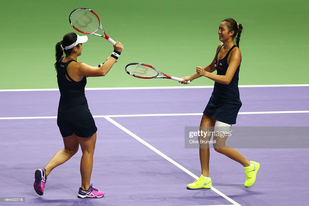 HaoChing Chan of Chinese Taipei and YungJan Chan of Chinese Taipei celebrate match point in their round robin match against Bethanie MattekSands of...