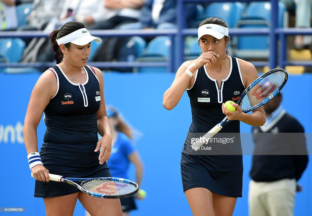 HaoChing Chan of Taiwan and YungJan Chan of Taiwan during their final match against Darija Jurak of Croatia and Anastasia Rodionova of Australia on...