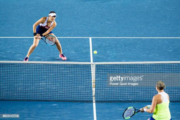 HaoChing Chan of Taiwan in action during the Prudential Hong Kong Tennis Open 2017 women's double match between HaoChing Chan and YungJan Chan of...