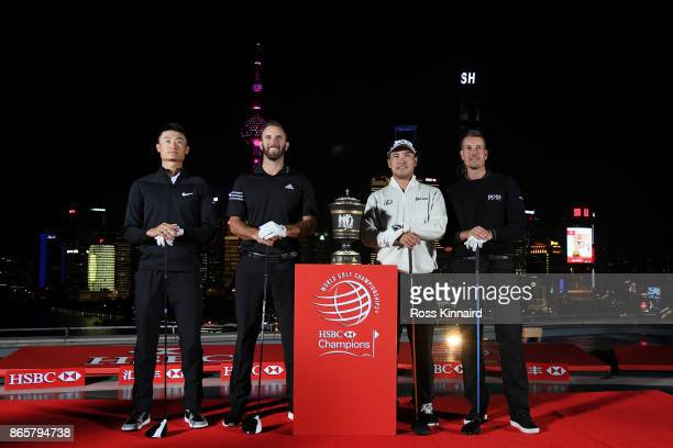 Haotong Li of China Dustin Johnson of the United States Hideki Matsuyama of Japan and Henrik Stenson of Sweden pose during a tournament launch event...