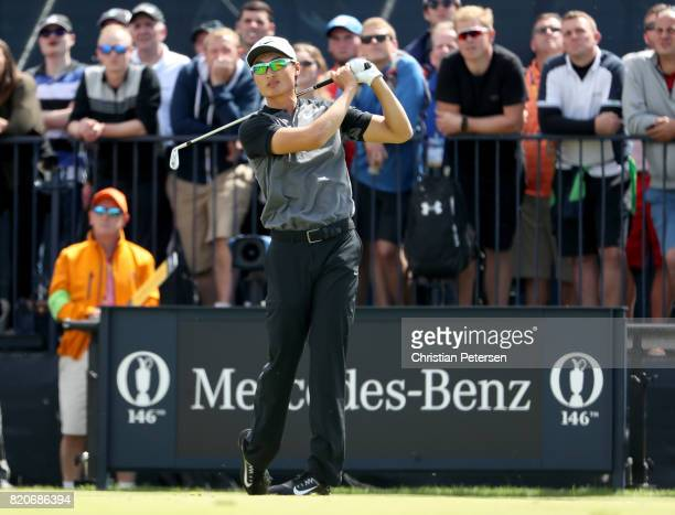 Haotong Li of China hits his tee shot on the 4th hole during the third round of the 146th Open Championship at Royal Birkdale on July 22 2017 in...
