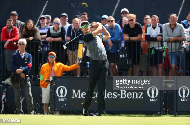 Haotong Li of China hits his tee shot on the 5th hole during the third round of the 146th Open Championship at Royal Birkdale on July 22 2017 in...