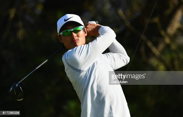 Haotong Li of China hits his tee shot on the 6th hole during a practice round prior to the 146th Open Championship at Royal Birkdale on July 18 2017...