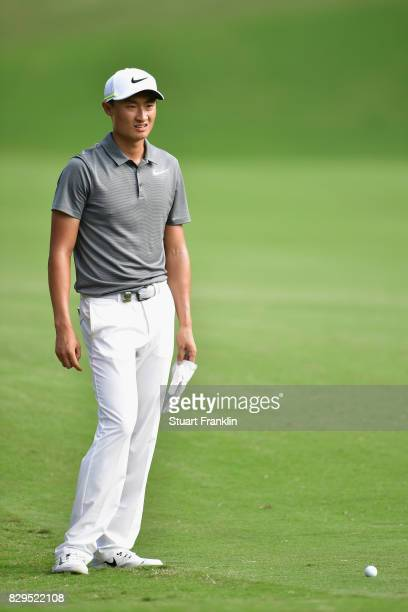 Haotong Li of China on the 17th hole during the first round of the 2017 PGA Championship at Quail Hollow Club on August 10 2017 in Charlotte North...
