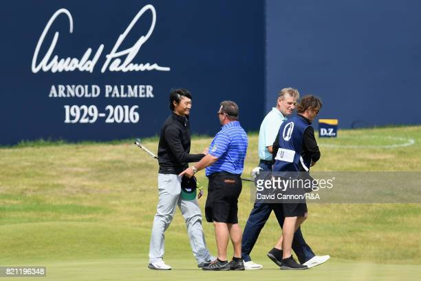 Haotong Li of China on the 18th green during the final round of the 146th Open Championship at Royal Birkdale on July 23 2017 in Southport England