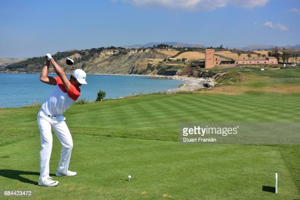 Haotong Li of China plays a shot during the first round of the Rocco Forte Open at erdura Golf and Spa Resort on May 18 2017 in Sciacca Italy