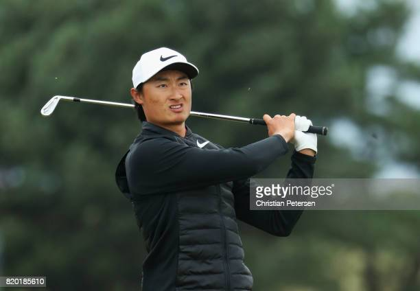 Haotong Li of China plays his second shot on the 13th hole during the second round of the 146th Open Championship at Royal Birkdale on July 21 2017...
