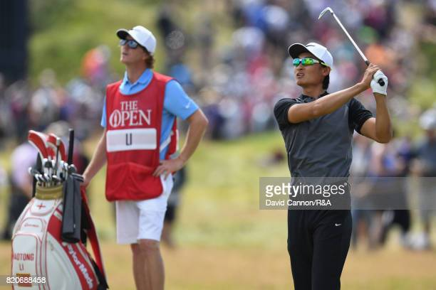 Haotong Li of China plays his second shot to the third hole during the third round of the 146th Open Championship at Royal Birkdale on July 22 2017...