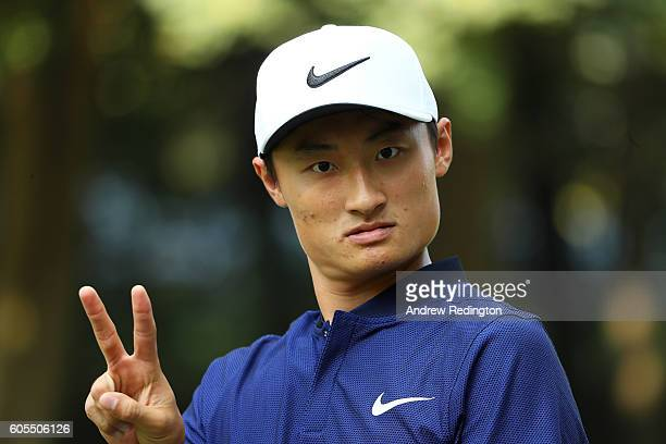 Haotong Li of China poses on the range during a proam round ahead of the Italian Open at Golf Club Milano on September 14 2016 in Monza Italy