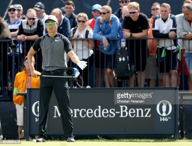Haotong Li of China prepares to hit his tee shot on the 4th hole during the third round of the 146th Open Championship at Royal Birkdale on July 22...