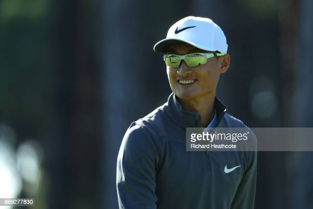 Haotong Li of China reacts on the 1st hole during the first round of the Turkish Airlines Open at the Regnum Carya Golf Spa Resort on November 2 2017...