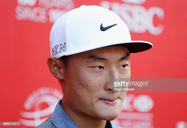 Haotong Li of China speaks to the media during the second round of the WGC HSBC Champions at the Sheshan International Golf Club on November 6 2015...