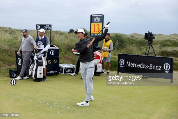 Haotong Li of China tees off on the 13th hole during the second round of the 146th Open Championship at Royal Birkdale on July 21 2017 in Southport...