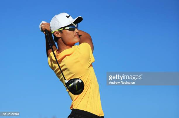 Haotong Li of China tees off on the 14th hole during day two of the Portugal Masters at Dom Pedro Victoria Golf Club on September 22 2017 in...