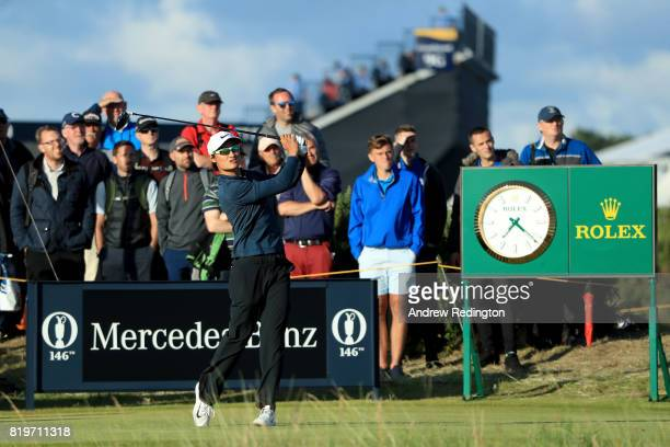 Haotong Li of China tees off on the 15th hole during the first round of the 146th Open Championship at Royal Birkdale on July 20 2017 in Southport...