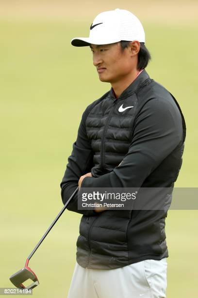 Haotong Li of China waits to putt on the 11th green during the second round of the 146th Open Championship at Royal Birkdale on July 21 2017 in...