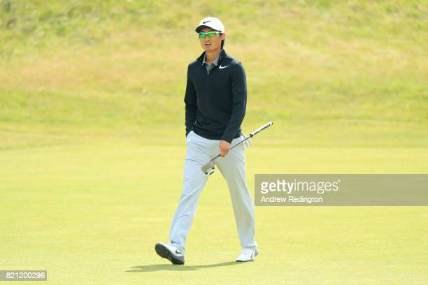 Haotong Li of China walks up the 18th fairway during the final round of the 146th Open Championship at Royal Birkdale on July 23 2017 in Southport...