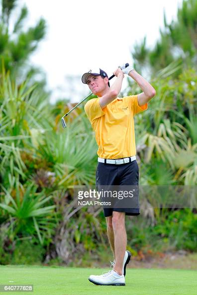 Hap Kaufold of Oglethorpe University hits an approach shot during the Division III Men's Golf Championship held at the PGA Golf Club in Port St Lucie...