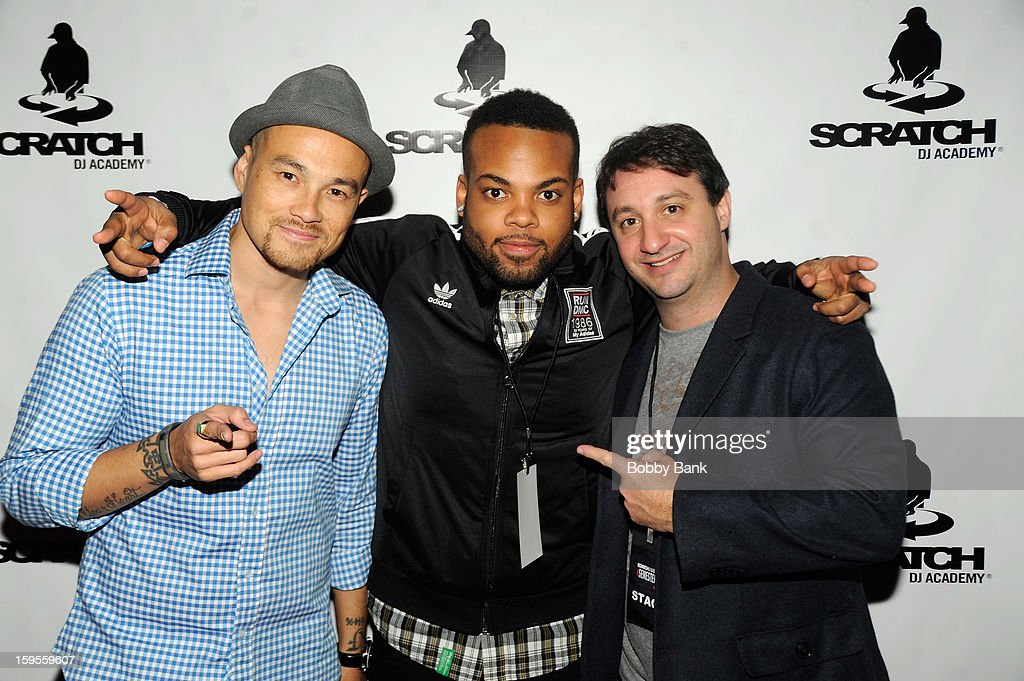 DJ Hapa, TJ Mizell and Rob Principe attend the Scratch DJ Academy Semester 10th Anniversary at Canal Room on January 15, 2013 in New York City.