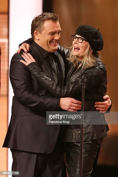 Hape Kerkeling and Diane Keaton attend the Goldene Kamera 2014 at Tempelhof Airport on February 01 2014 in Berlin Germany