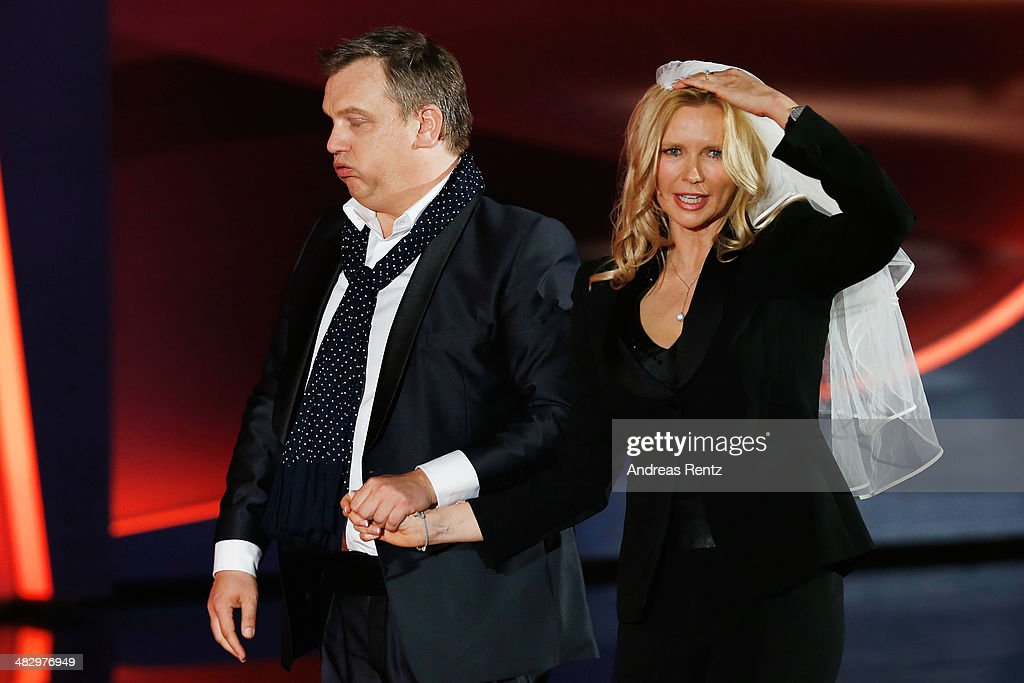Hape Kerkeling dances with Veronica Ferres during the 'Wetten dass' tv show on April 5 2014 in Offenburg Germany