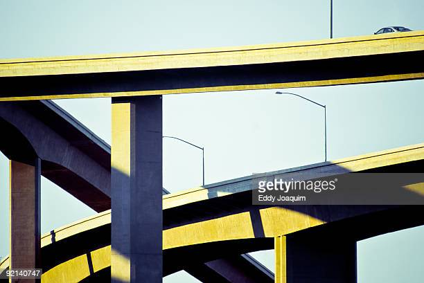 Haphazard crisscross of highway overpasses.