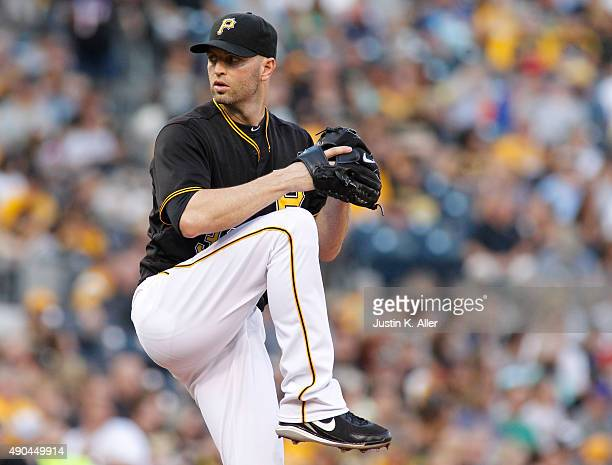 A Happ of the Pittsburgh Pirates in action during the game against the Colorado Rockies at PNC Park on August 29 2015 in Pittsburgh Pennsylvania
