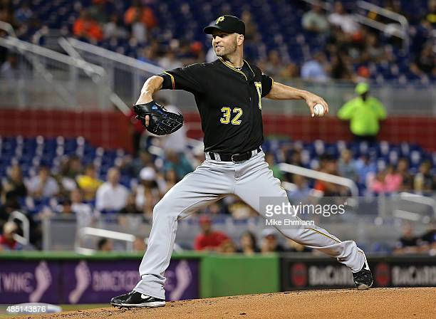 A Happ of the Pittsburgh Pirates pitches during a game against the Miami Marlins at Marlins Park on August 24 2015 in Miami Florida